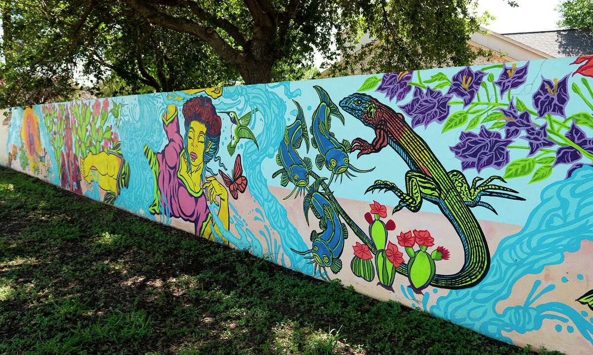 """A mural by Gustavo """"Ghost"""" Estrada as seen Friday, July 2, 2021 near San Isidro Parkway."""
