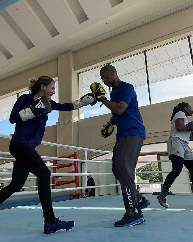 Olympic assistant boxing coach Jeff Mays trains Houston Olympian boxer Ginny Fuchsin Miyazaki, Japan.