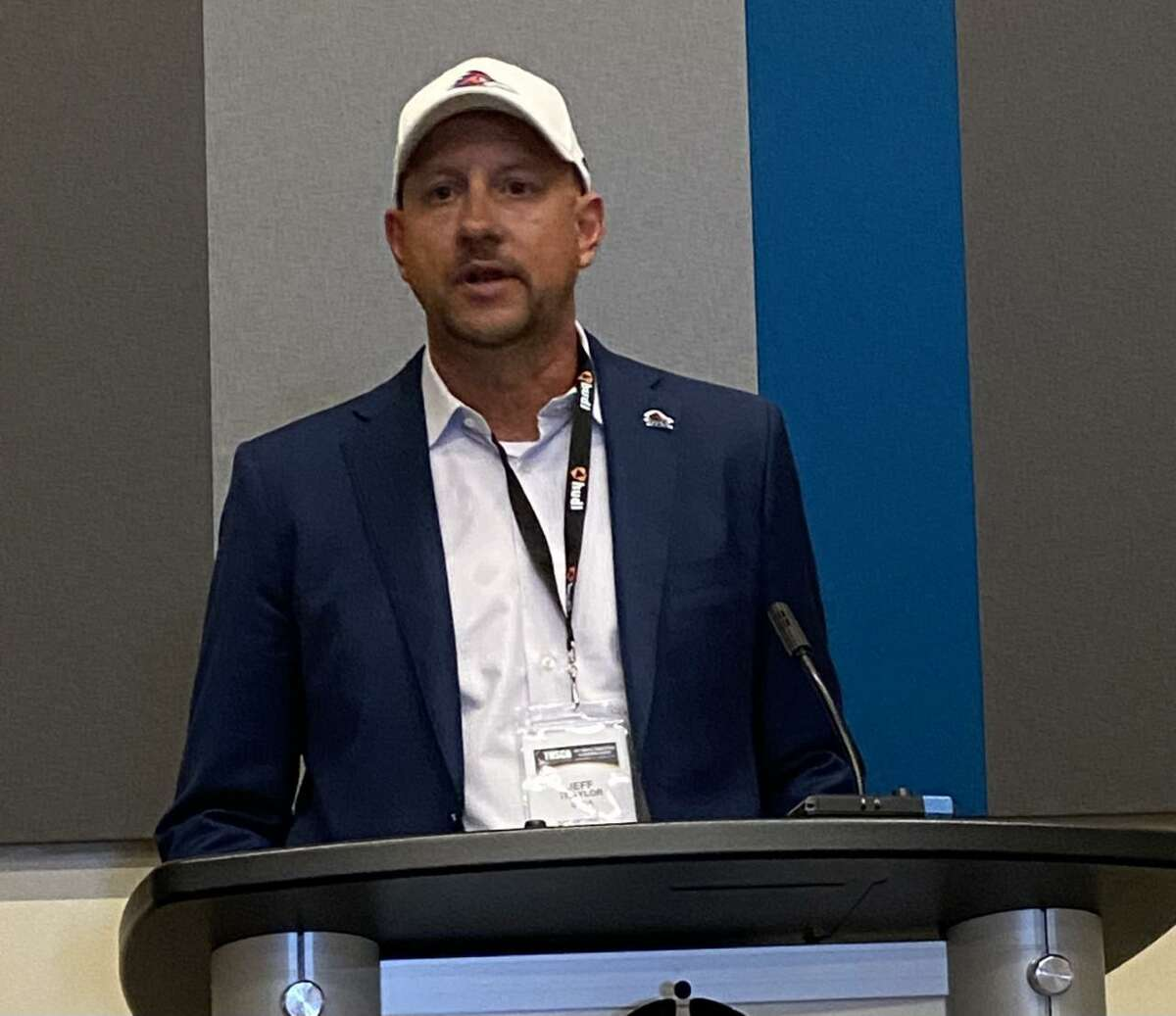 UTSA football coach Jeff Traylor addresses the media during the Texas High School Coaches Association's convention on Monday, September 19, 2021 at the Henry B. Gonzalez Convention Center in San Antonio.