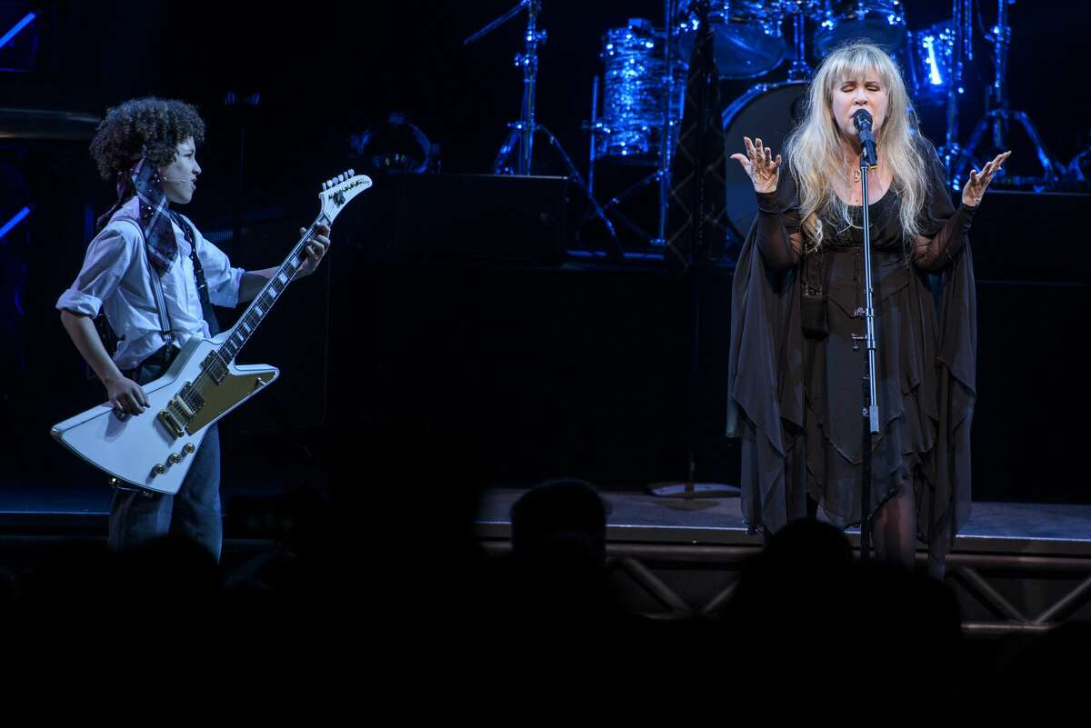 """Stevie Nicks of the band Fleetwood Mac performs live on stage with the cast of """"School of Rock - The Musical"""" at the Winter Garden Theatre on April 26, 2016 in New York City."""
