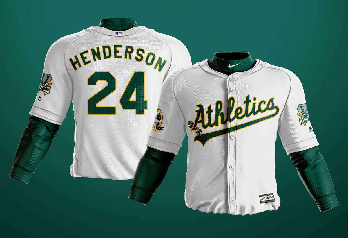 A mock-up uniform of the Las Vegas A's designed by Kyle Tellier, who says he nevertheless likes the Oakland A's more than the San Francisco Giants.