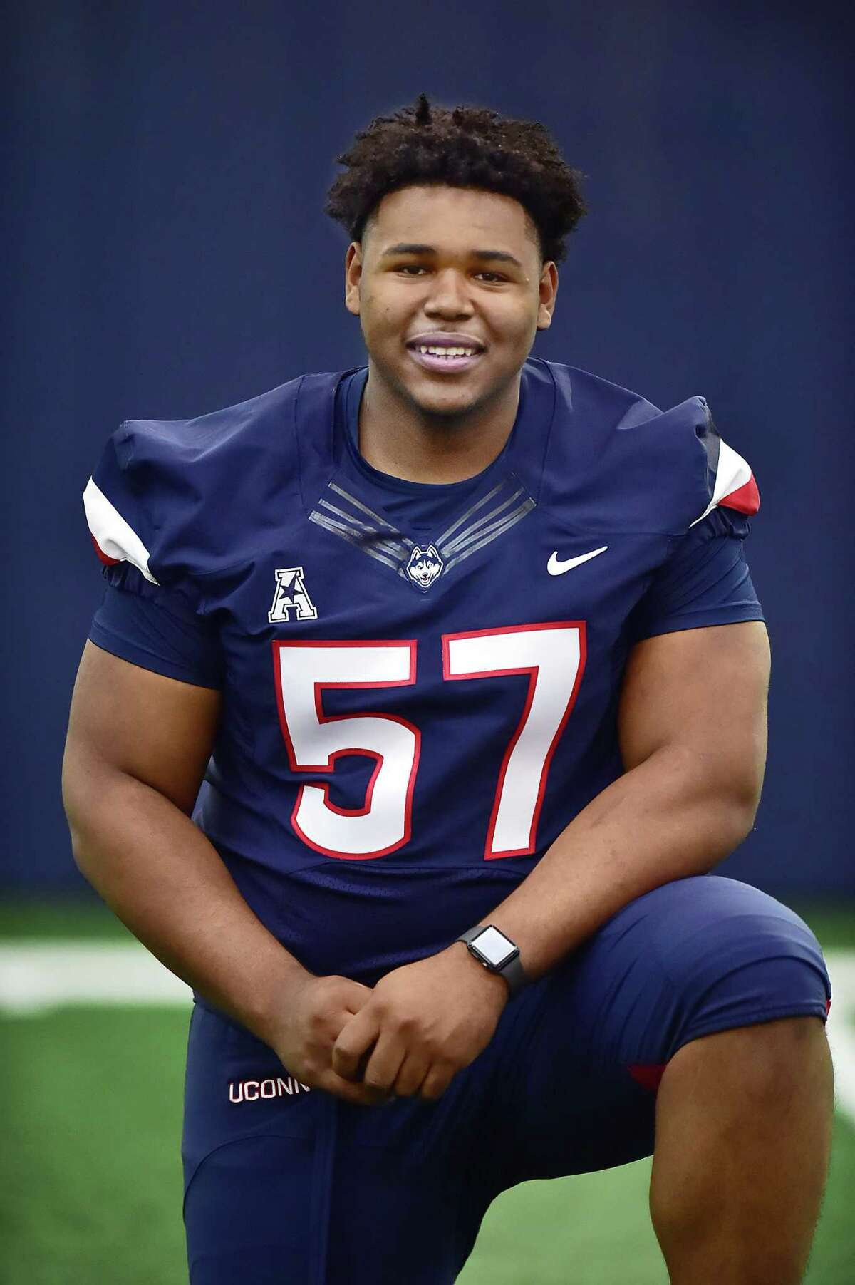 UConn defensive line Travis Jones at media day, Tuesday, July 31, 2018, at the Shenkman Training Center at the Burton Family Football Complex in Storrs.