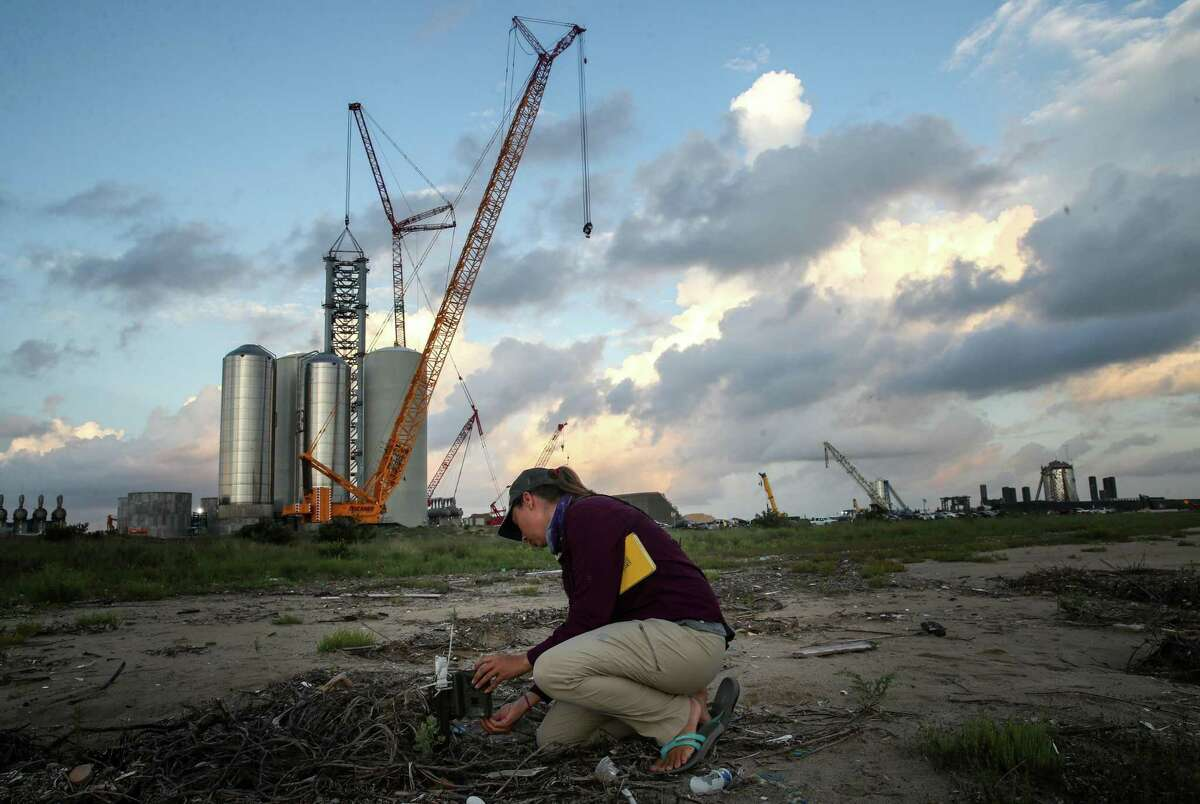 """Stephanie Bilodeau, a coastal bird biologist known to SpaceX security as the """"bird lady,"""" checks a nest camera on mud flats near the Starship Superheavy Orbital Launch Pad being built by SpaceX on Thursday, June 17, 2021, at Boca Chica State Park near Brownsville. """"It just concerns me a bit, what that's going to look like and how that's going to impact the birds nesting out here,"""" she said. """"There's a reason they want to nest here, and it's just unfortunate if they're forced to move elsewhere."""""""