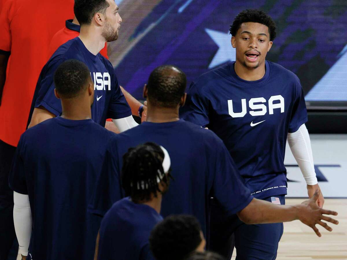 LAS VEGAS, NEVADA - JULY 18: Keldon Johnson #40 of the United States is introduced before an exhibition game against Spain at Michelob ULTRA Arena ahead of the Tokyo Olympic Games on July 18, 2021 in Las Vegas, Nevada. The United States defeated Spain 83-76. (Photo by Ethan Miller/Getty Images)