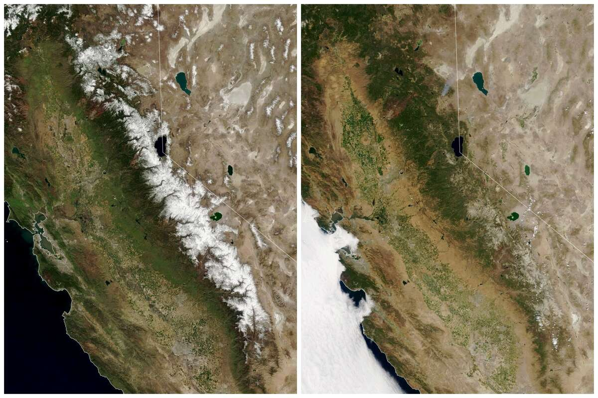 Side-by-side comparison of the snowpack on the Sierra on March 31, 2021 (left) and July 7, 2021 (right). Photo taken by NASA's Terra satellite.
