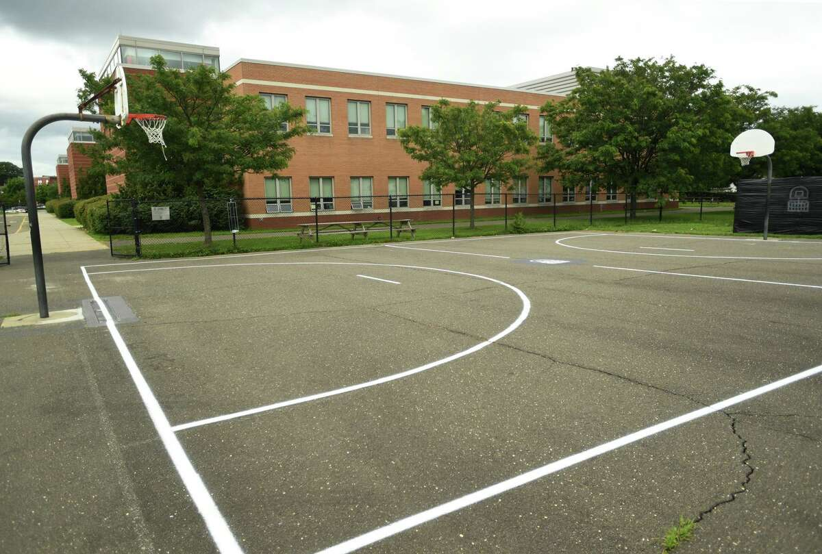 The multi-use courts outside Cesar Batalla School in Bridgeport, Conn. on Monday, July 19, 2021.