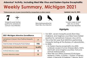 Michigan Department of Health & Human Services provides a weekly update on arbovirus activity, including West Nile Virus and Eastern Equine Encephalitis. This summary was last updated on July 15. (Courtesy graphic/MDHHS)