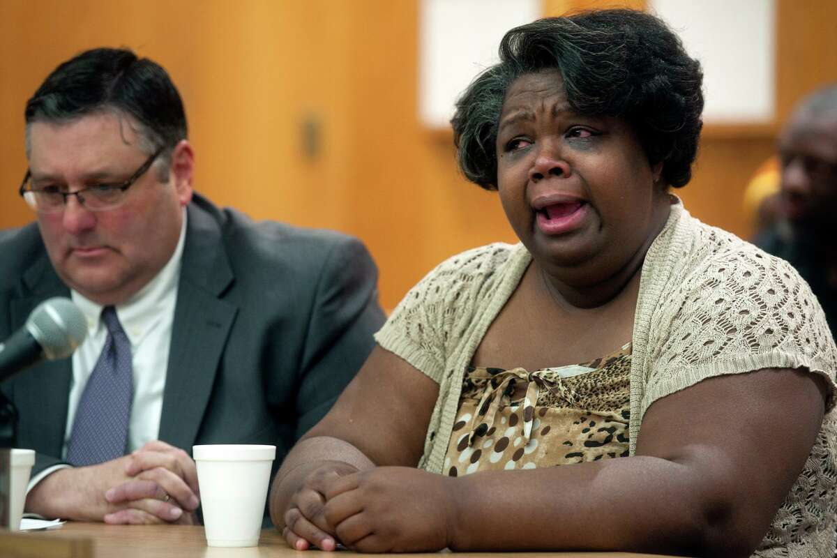 Corrinna Martin, mother of Alyssiah Marie Wiley, speaks at the sentencing of Jermaine Richards in Bridgeport Superior Court, in Bridgeport, Conn. March 2, 2018. Richards was sentenced to 60-years for the 2013 murder of Wiley. State's Attorney Joseph Corradino sits next to her.