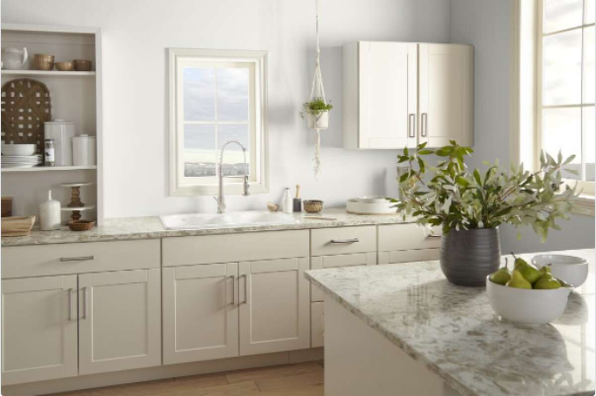 A kitchen painted white
