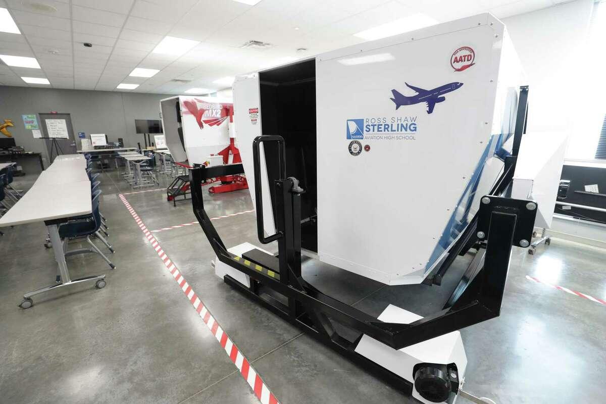 Sterling High School Aviation Department flight simulators Wednesday, July 14, 2021, in Houston.