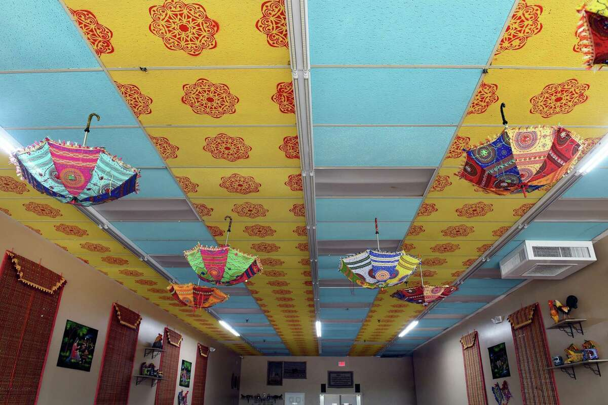 The hand-painted ceiling of a Dera BBQ in Orange, July 15, 2021.