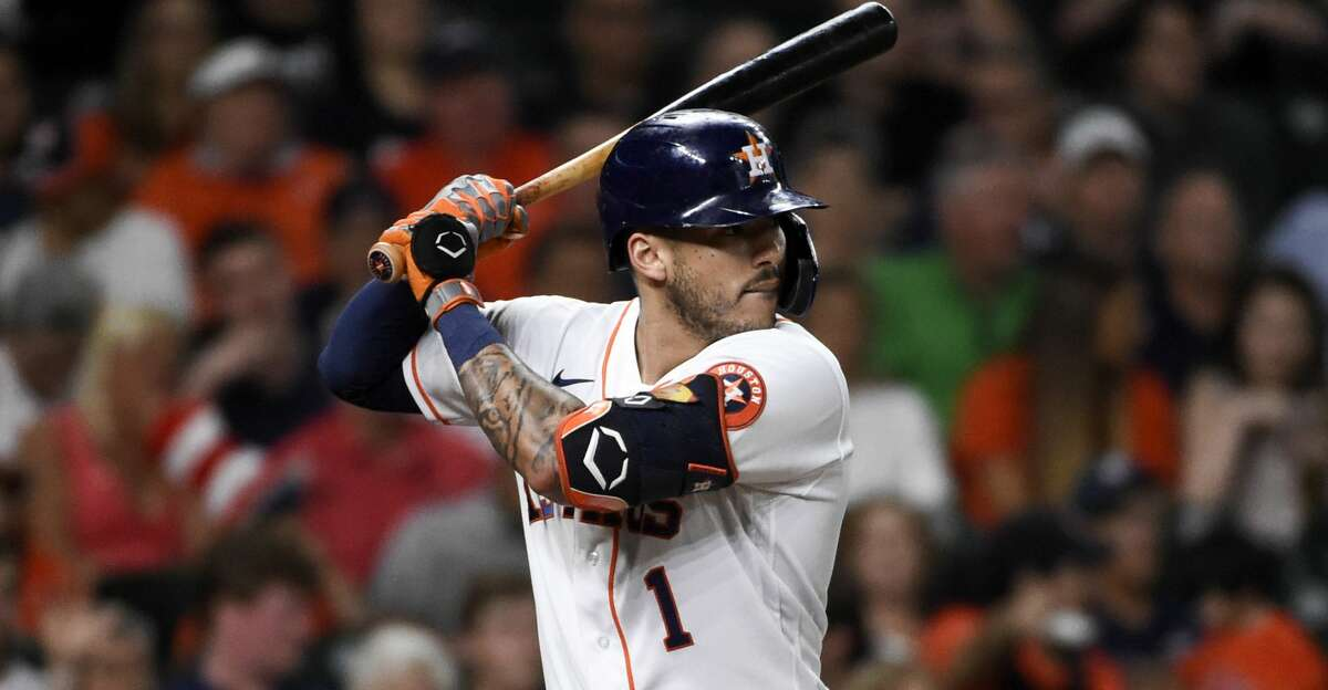 Houston Astros' Carlos Correa at bat in a baseball game against the Baltimore Orioles, Tuesday, June 29, 2021, in Houston. (AP Photo/Eric Christian Smith)