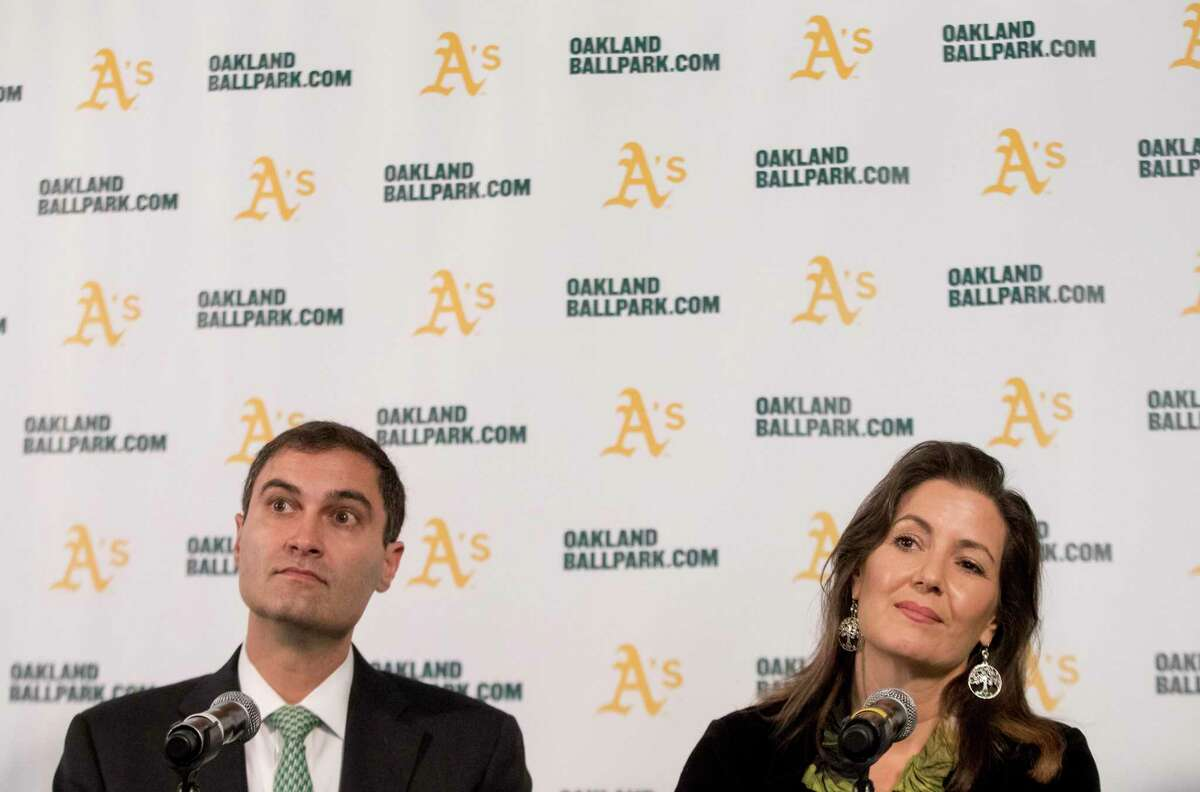 A's President Dave Kaval and Oakland Mayor Libby Schaaf in 2018.