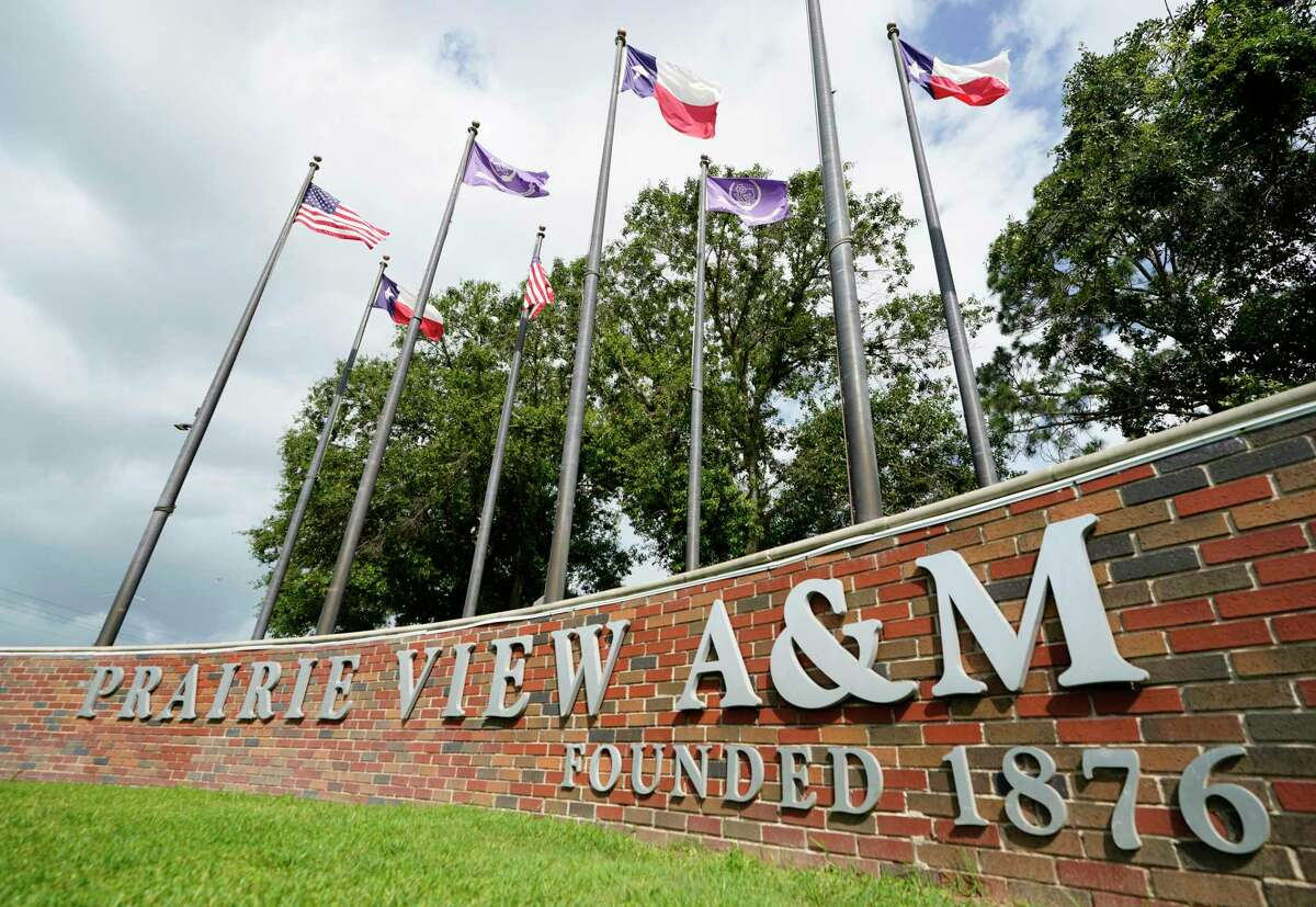 A sign on the campus of Prairie View A&M University is shown Tuesday, June 8, 2021 in Prairie View.