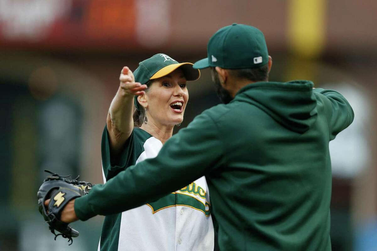 Mayor of Oakland Libby Schaaf (left) joined city staff Monday in talks with the A's about a new stadium.