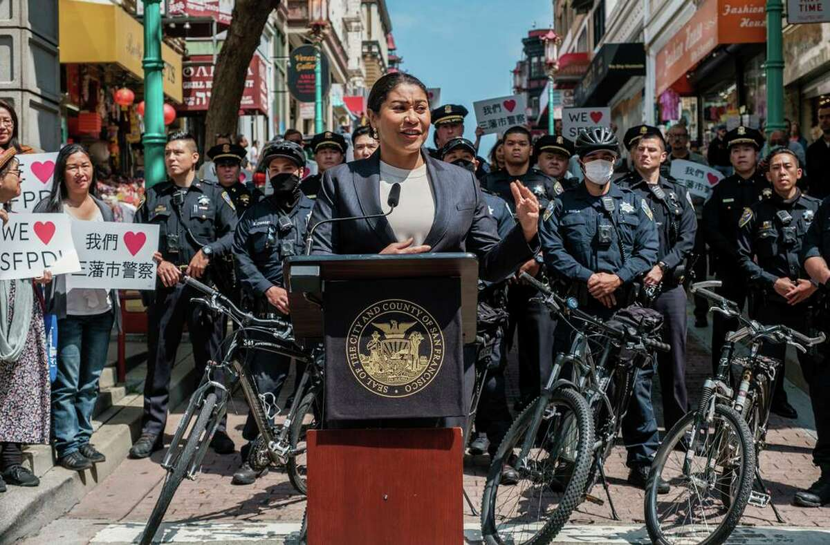 San Francisco Mayor London Breed speaks at a news conference announcing a new deployment of police patrols in tourist areas.