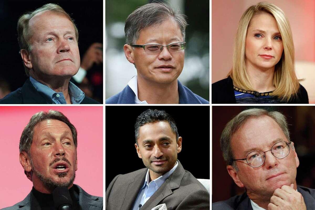 Clockwise from top left: John Chambers, Jerry Yang, Marissa Mayer, Eric Schmidt, Chamath Palihapitiya, Larry Ellison