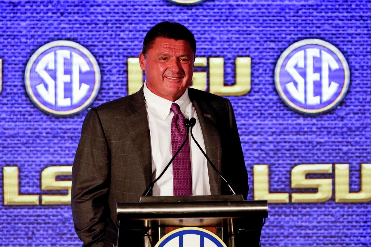 LSU coach Ed Orgeron speaks to reporters Monday during the first of four SEC Media Days in Hoover, Ala.