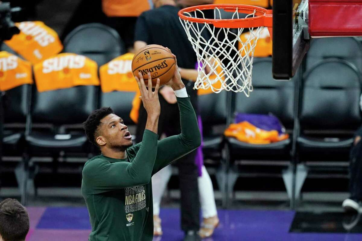 Giannis Antetokounmpo and the Bucks look at secure the NBA title against the Suns at 6 p.m. Tuesday (ABC/1050).