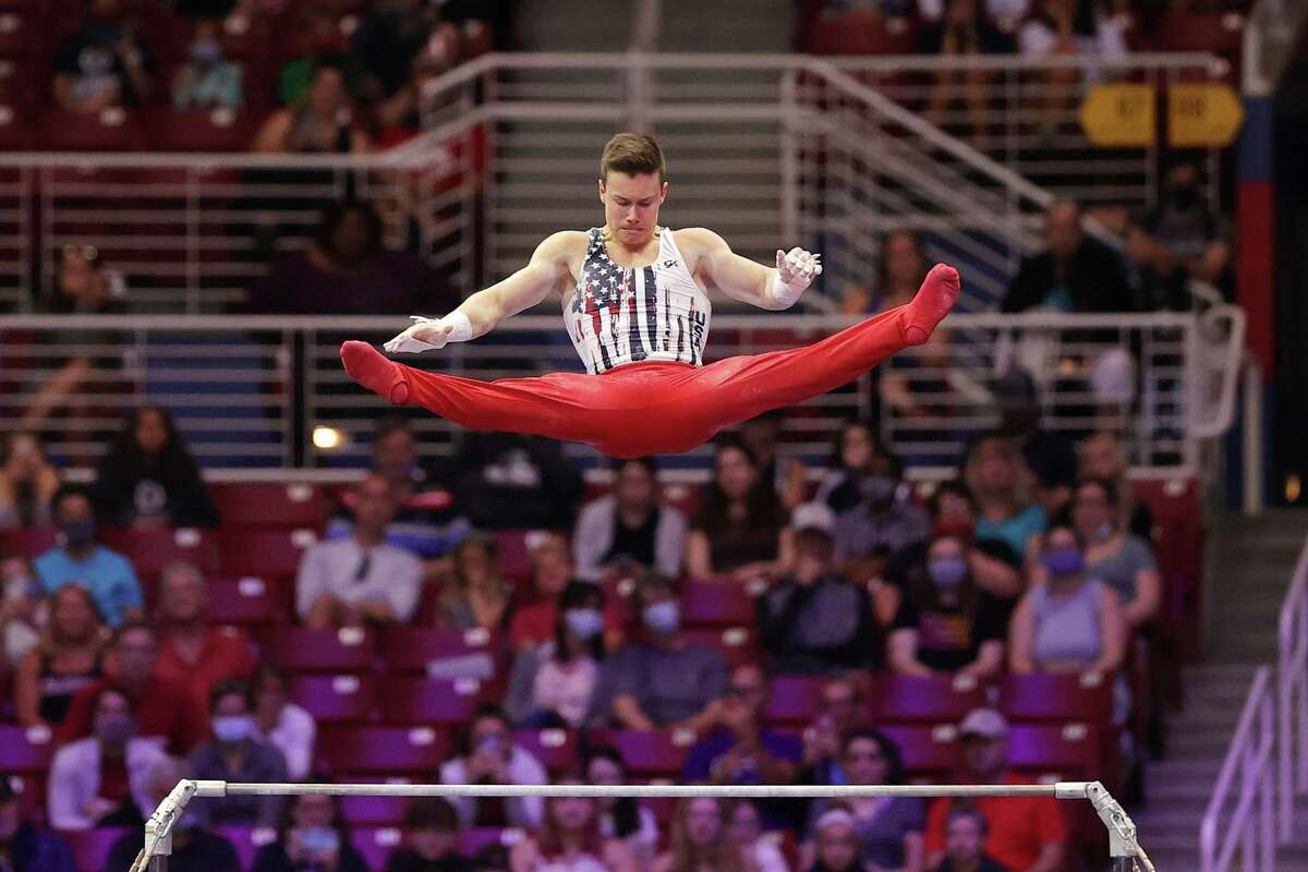 Brody Malone competes on high bar during the 2021 Olympic Trials in St Louis, Missouri.