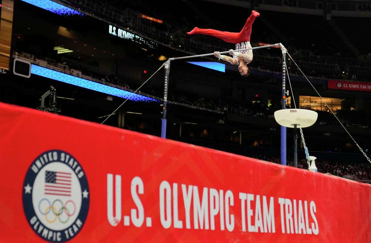 Stanford's Brody Malone competes on the horizontal bar during the men's U.S. Olympic Gymnastics Trials on June 26 in St. Louis. He was the all-around champion at the event.