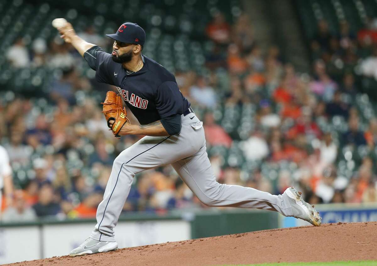 Cleveland Indians starting pitchers J.C. Mejia (36) pitches in the first inning against Houston Astros at Minute Maid Park on Monday, July 19, 2021. Houston Astros host Cleveland Indians for a three-game series.