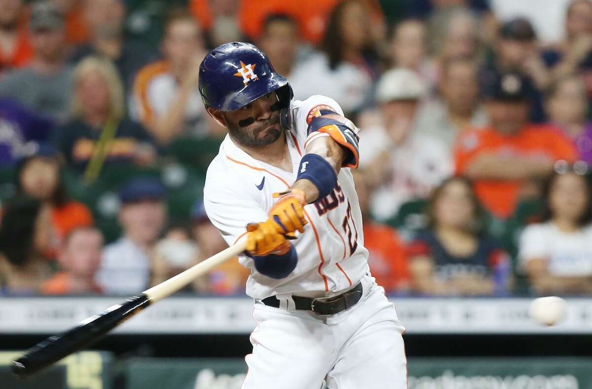 Houston Astros second baseman Jose Altuve (27) connects but is out in the first inning against Cleveland Indians on Monday, July 19, 2021. Houston Astros host Cleveland Indians for a three-game series.