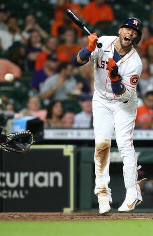 Houston Astros first baseman Yuli Gurriel (10) reacts to getting hit by a pitch in the third inning against Cleveland Indians at Minute Maid Park on Monday, July 19, 2021. Houston Astros host Cleveland Indians for a three-game series. Photo: Elizabeth Conley/Staff Photographer / © 2021 Houston Chronicle