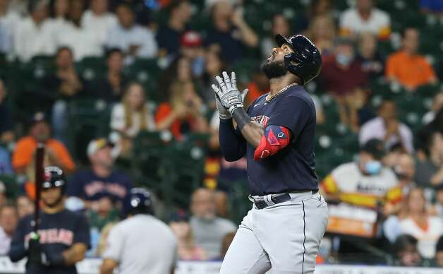 Cleveland Indians right fielder Franmil Reyes (32) reacts to his solo home run in the fourth inning against the Houston Astros at Minute Maid Park on Monday, July 19, 2021. Houston Astros host Cleveland Indians for a three-game series. Photo: Elizabeth Conley/Staff Photographer / © 2021 Houston Chronicle
