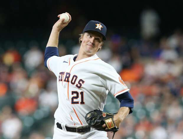 Houston Astros starting pitcher Zack Greinke (21) pitches in the first inning against Cleveland at Minute Maid Park on Monday, July 19, 2021. Houston Astros host Cleveland Indians for a three-game series. Photo: Elizabeth Conley/Staff Photographer / © 2021 Houston Chronicle