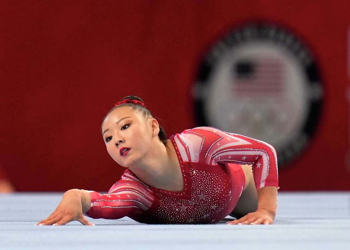 Kara Eaker competes in the floor exercise during the women's U.S. Olympic Gymnastics Trials in St. Louis on June 25.