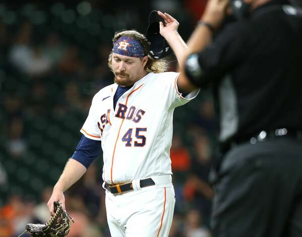 Houston Astros relief pitcher Ryne Stanek (45) reacts as he leaves the field in the eighth inning against the Cleveland Indians at Minute Maid Park on Monday, July 19, 2021. Houston Astros host Cleveland Indians for a three-game series. Photo: Elizabeth Conley/Staff Photographer / © 2021 Houston Chronicle