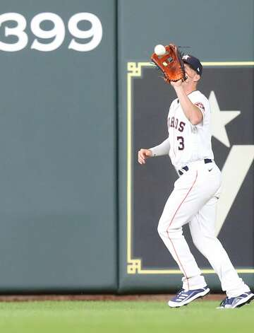 Houston Astros center fielder Myles Straw (3) catches a hit by Cleveland Indians right fielder Daniel Johnson (23) in the top of the ninth inning at Minute Maid Park on Monday, July 19, 2021. Houston Astros won the game 4-3. Photo: Elizabeth Conley/Staff Photographer / © 2021 Houston Chronicle