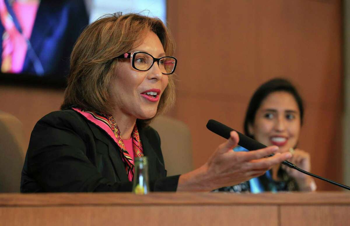 Shirley Gonzales speaks during her final City Council meeting on June 10, 2021. Gonzales is seeking an appointment from Mayor Ron Nirenberg as the chair of the San Antonio Housing Commission.