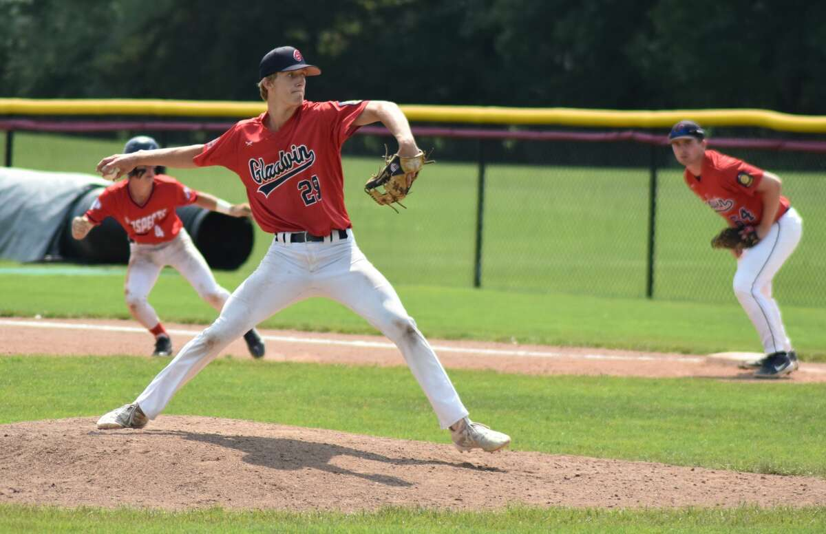 Gladwin Post 171's Avery Goldensoph delivers a pitch against the Kalamazoo Maroons during last weekend's Great Lakes Bay Classic.