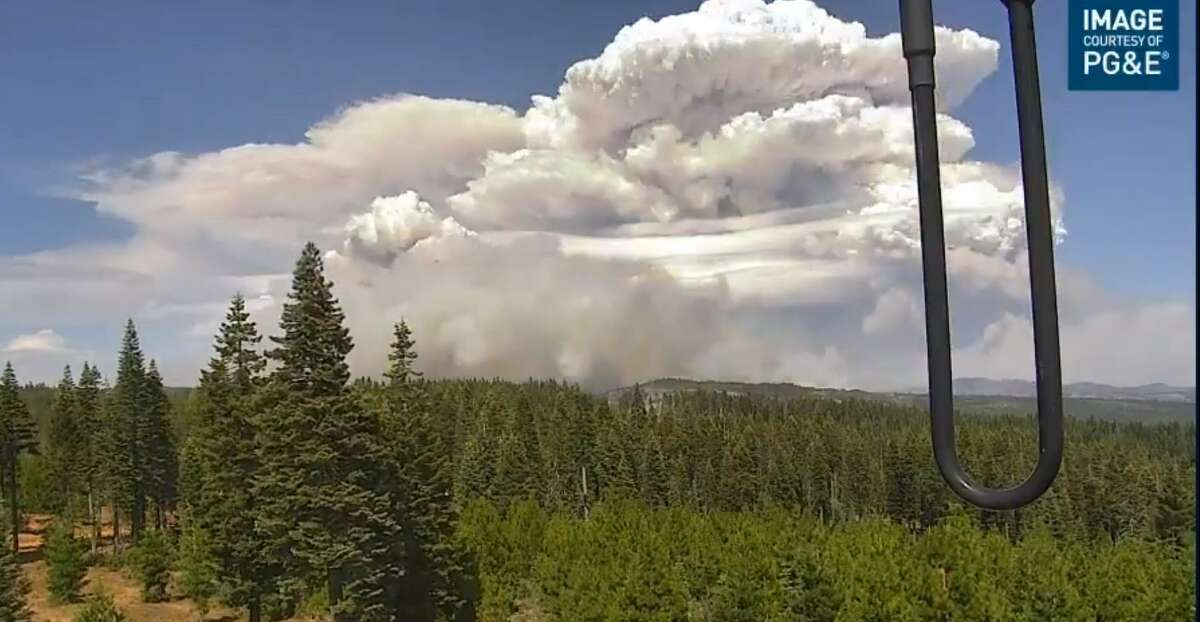 A thunderstorm-like mass known as a pyrocumulonimbus cloud took shape over the Dixie Fire burning in Butte and Plumas counties on Monday, July 20, 2021.