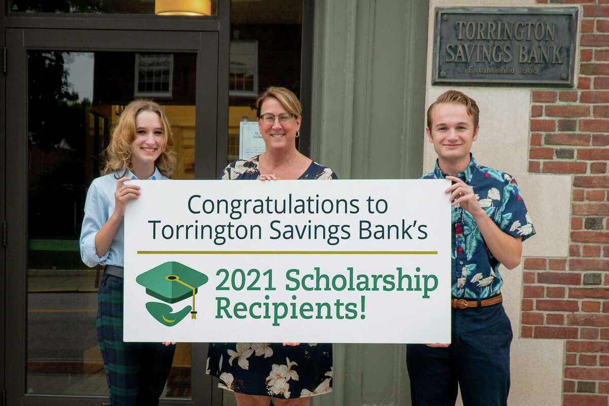 Kathryn Pagano and James Watson are Torrington Savings Bank's 2021 Scholarship Award recipients. Each yea,r the bank offers two graduating seniors a four-year, $10,000 academic scholarship at $2,500 per year. From left are Kathryn Pagano, bank president and CEO Lesa Vanotti, and James Watson.