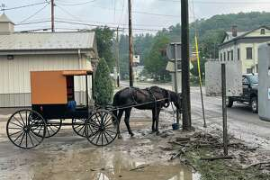 The flood water have receded in the village of Fonda, which was hit with torrential rain that left roads unpassable and basements flooded on Monday.