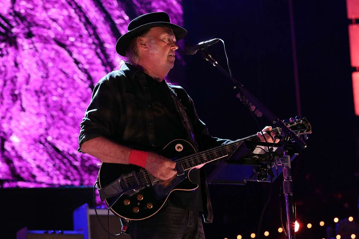 Neil Young + Promise of the Real perform during Farm Aid 2018 at Xfinity Theatre on September 22, 2018 in Hartford, Connecticut.