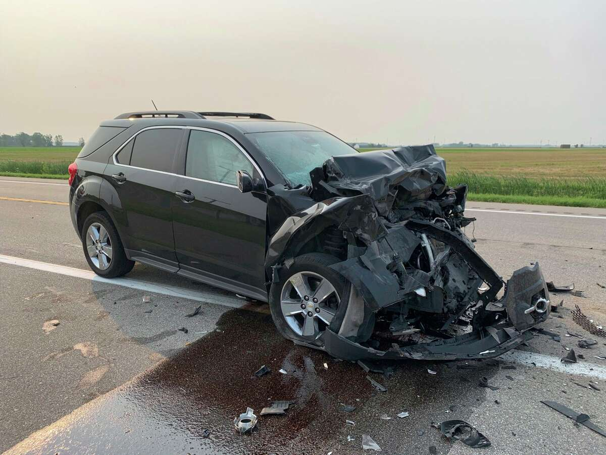 A Chevrolet Equinox is left badly damaged and its occupants were transported to the hospital following a two-vehicle crash July 20. (MSP/Courtesy Photo)
