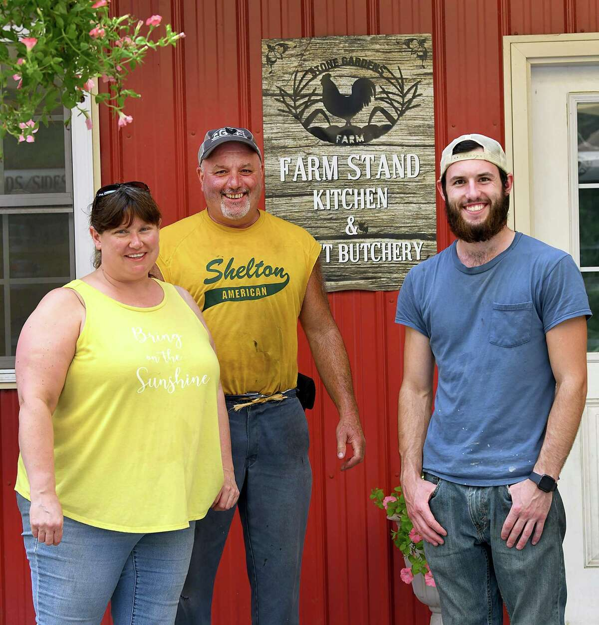 Stacia and Fred Monahan, along with their son Tom own and operate Stone Gardens Farms in Shelton.