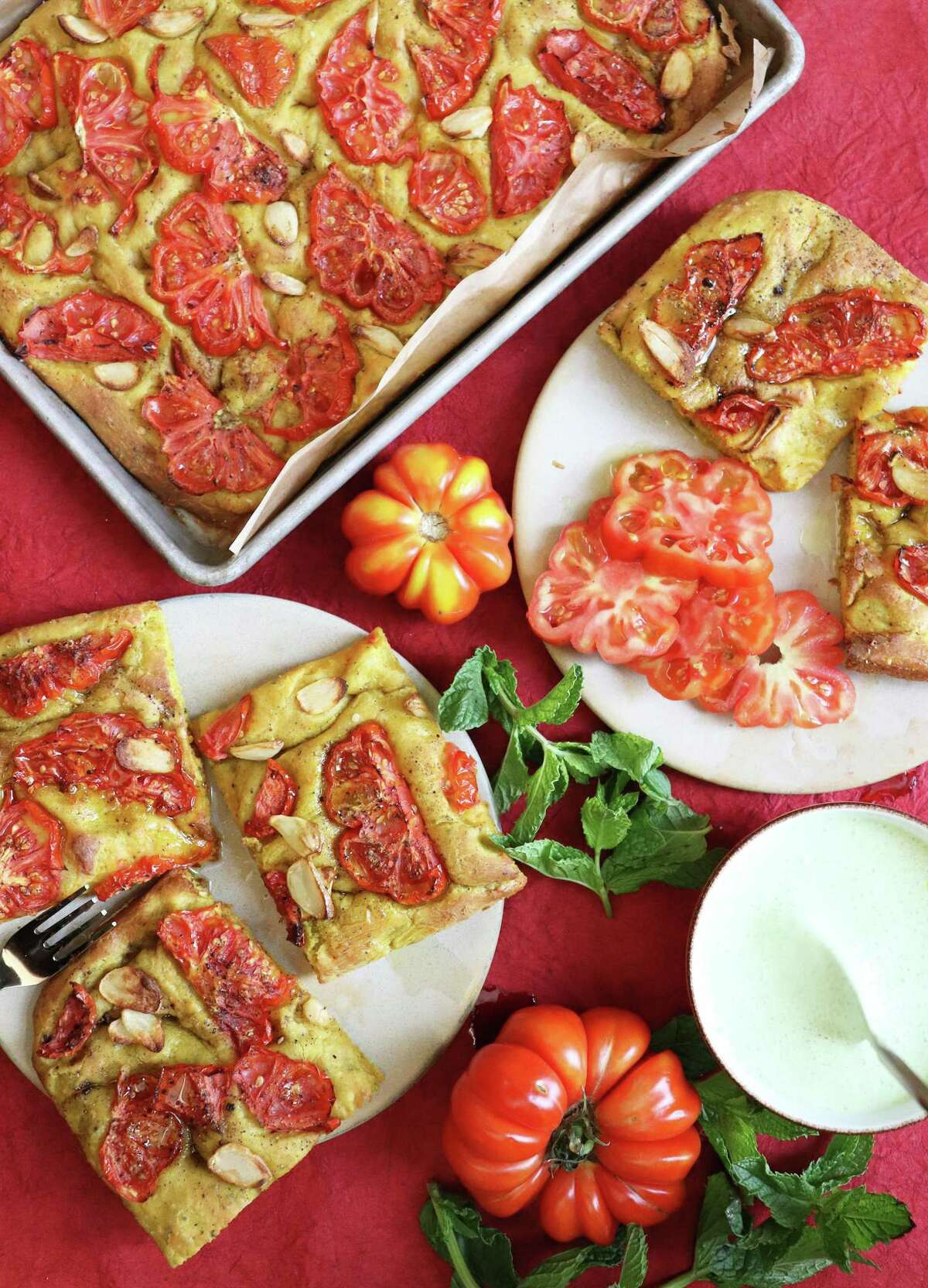 Tomato Bread is juicy and delicious, thanks to heirloom tomatoes from the farmers market.