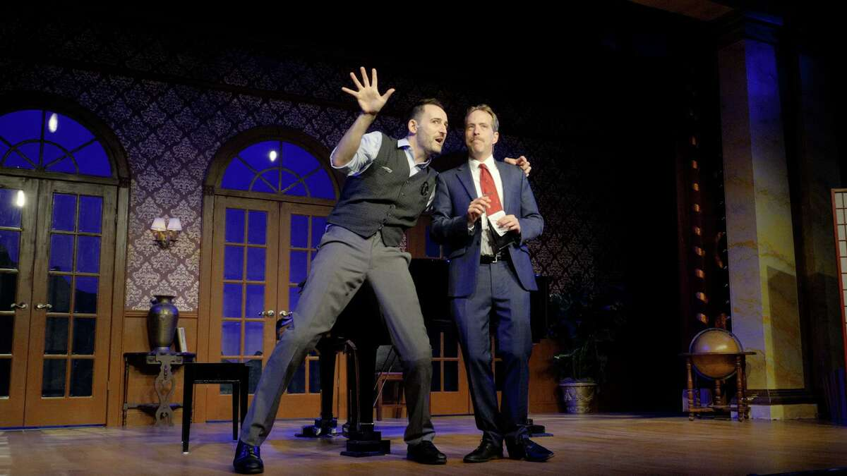 """""""Murder for Two,"""" a murderous spoof by Kellen Blair and Joe Kinosian, is playing at the Ivoryton Playhouse until Sunday, Aug. 1."""