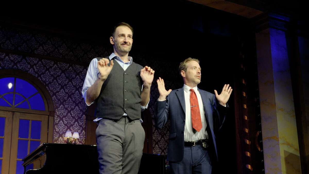 """""""Murder for Two"""", a murderous spoof by Kellen Blair and Joe Kinosian, is playing at the Ivoryton Playhouse until Sunday, Aug. 1."""