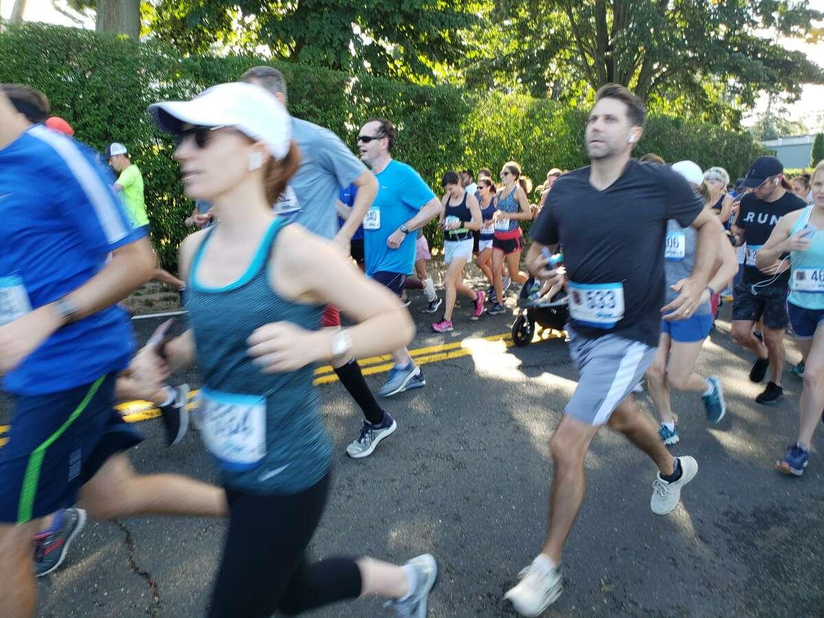 Runners start off at the Darien Road Race.