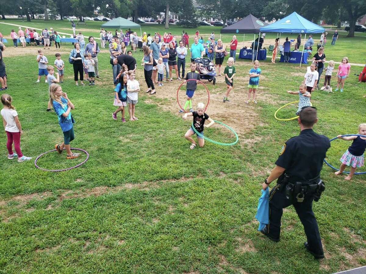 A hula hoop contest at a past National Night Out in Guilford.