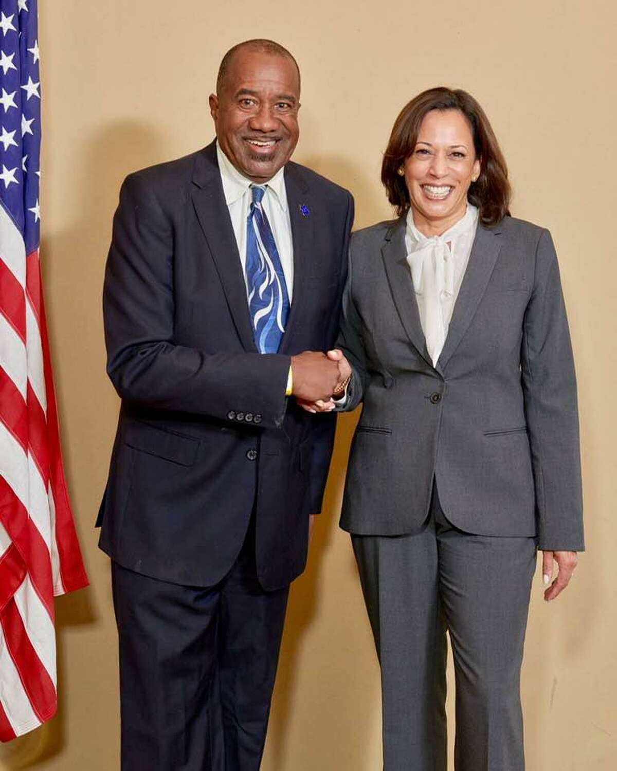 Rodney Griffin with then-Sen. Kamala Harris at the third debate in the Democratic presidential primary at Texas Southern University.