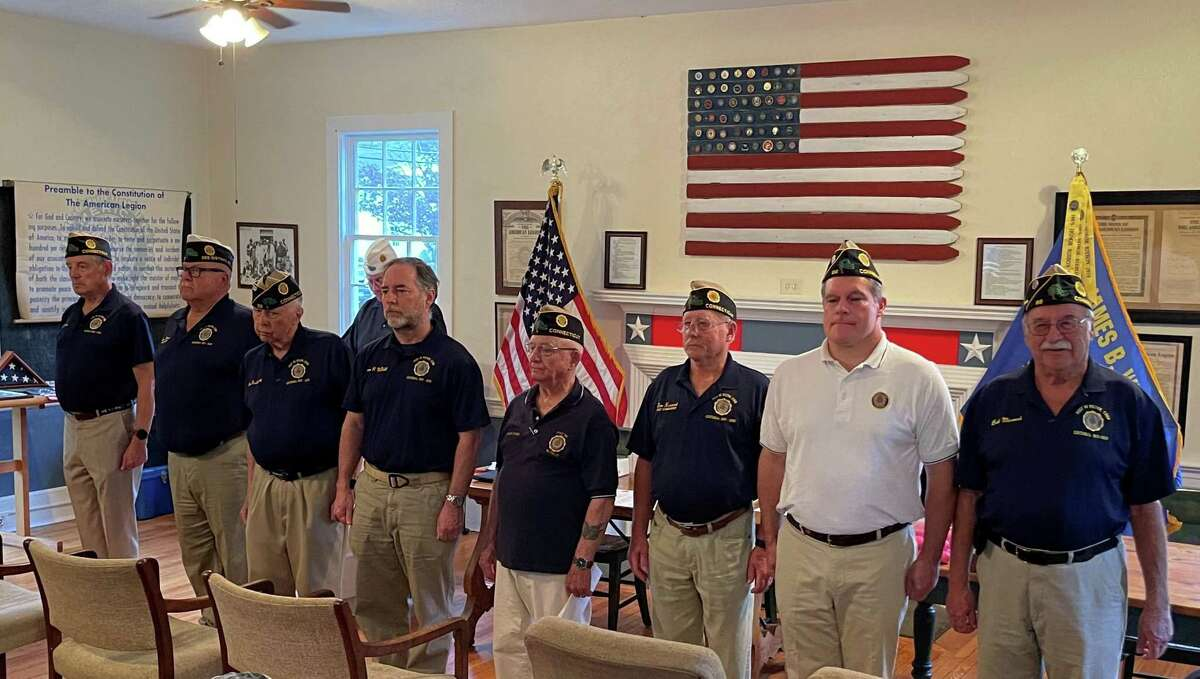 The American Legion Post 86 in Wilton, recently held its Installation of Officers ceremony at the Post, which is located at the town's 112 Old Ridgefield Road. Pictured from the left to the right are Post 86 officers: Commander Paul Niche, Senior Vice Commander, and Adjutant Tom Moore, Jr., Vice Commander Alex Ruskewich, Finance Officer Sean McNeill, Chaplain Frank Dunn, Judge Advocate Don Hazzard, Sergeant at Arms Jeff Turner, and Service Officer Bob Mecozzi.
