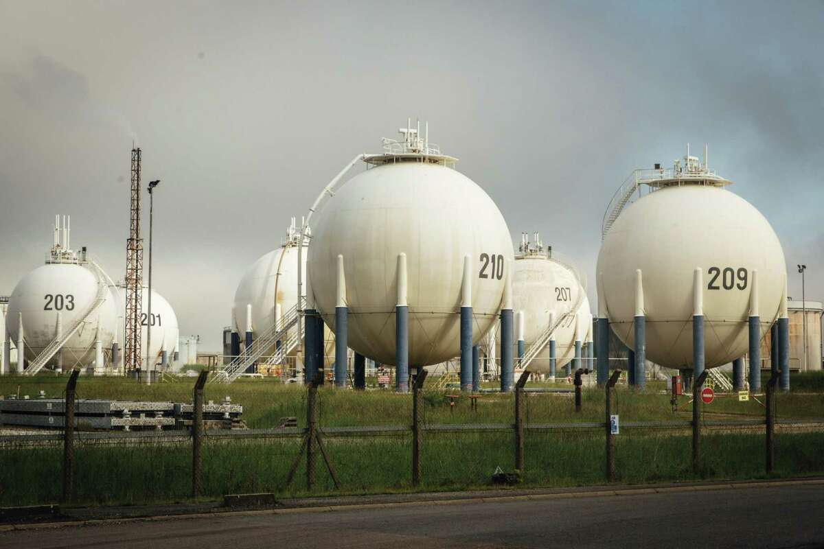 Horton sphere storage pressure vessels at the Total Grandpuits oil refinery in Grandpuits-Bailly-Carrois, France, on May 27, 2021.