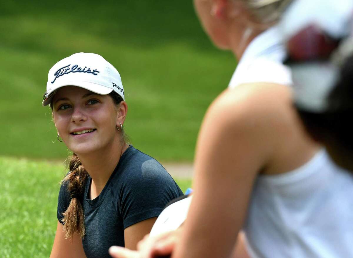 Symetra Tour golfer Kennedy Swedick, 14, of Altamont chats with fellow competitors during a practice round on Tuesday, July 20, 2021, at Pinehaven Country Club in Guilderland, N.Y. She is playing in the Twin Bridges Championship on a sponsor's exemption. (Will Waldron/Times Union)
